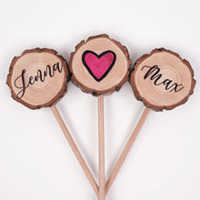 Load image into Gallery viewer, Personalised Wood Slice Wedding Cake Topper - Cake Topper