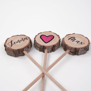 Personalised Wood Slice Wedding Cake Topper - Cake Topper