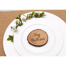 Load image into Gallery viewer, Wood Slice Place Cards - Wedding Favour