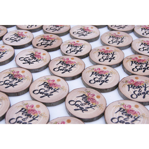 Wood Slice Product Tags (100 pack) - custom tags