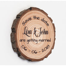Load image into Gallery viewer, Wood Slice Save The Date Magnets - Save The Dates