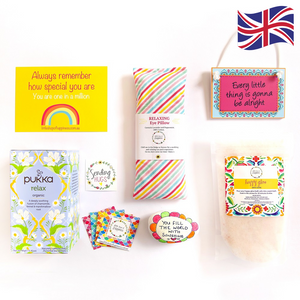 Gift Hamper items flatlay with UK flag