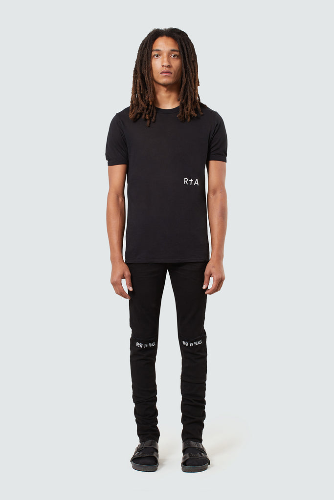 Black Cotton RtA Side Panel Tee