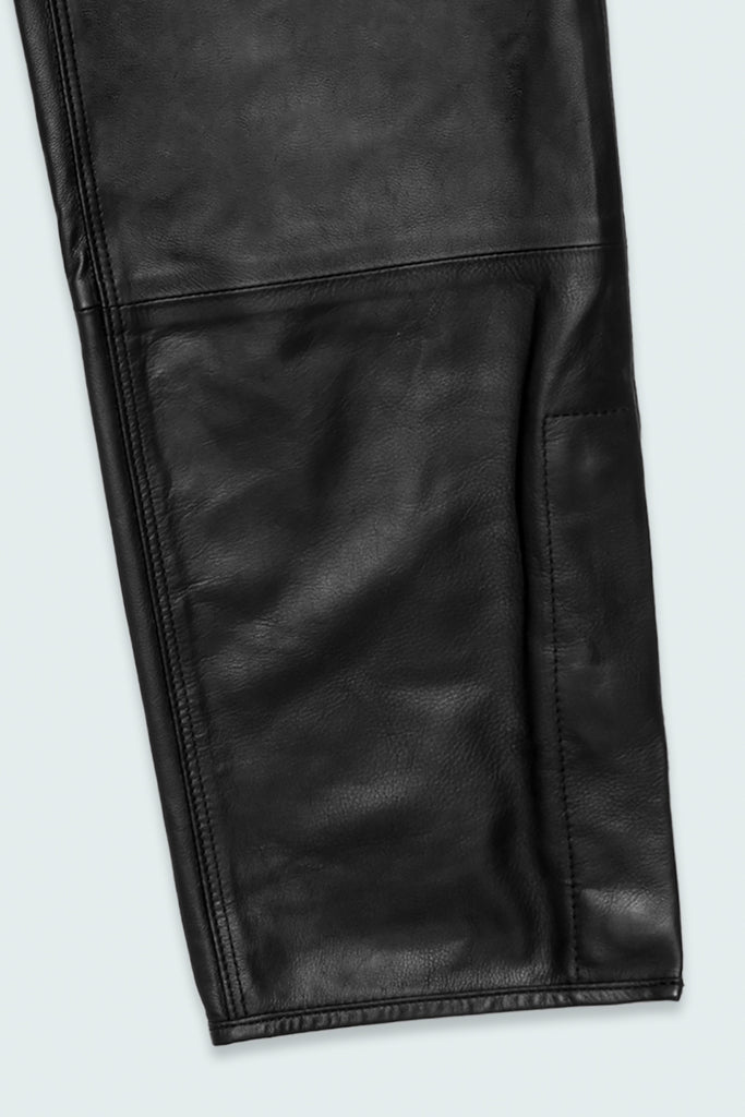 Black Leather Cropped Pant