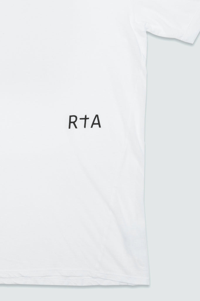 close up of RtA logo on white side panel shirt