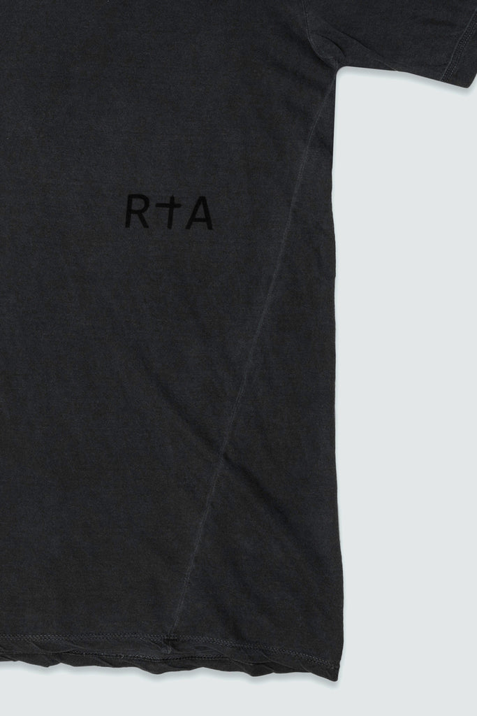 uplcose shot of RtA Brand logo on side panel T in black