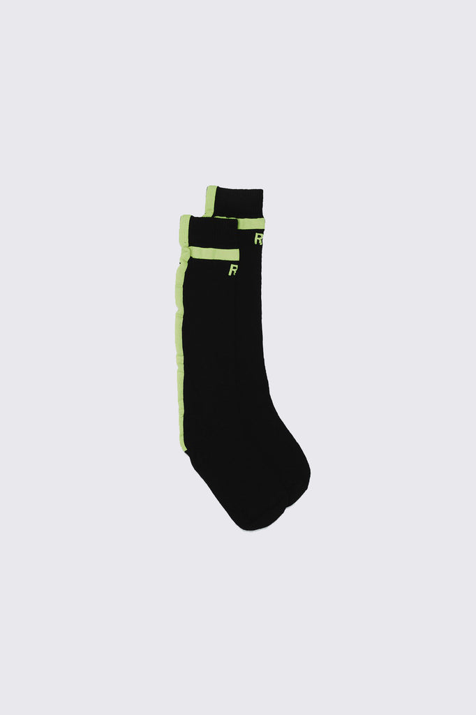 Long Black and Neon Cotton Socks