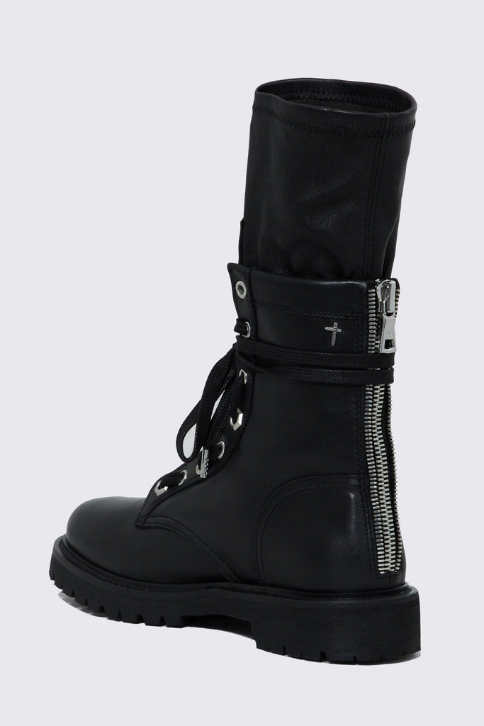 Black Leather Combat Boot