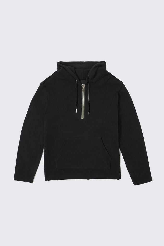 Black Cotton Half Zip Hoodie