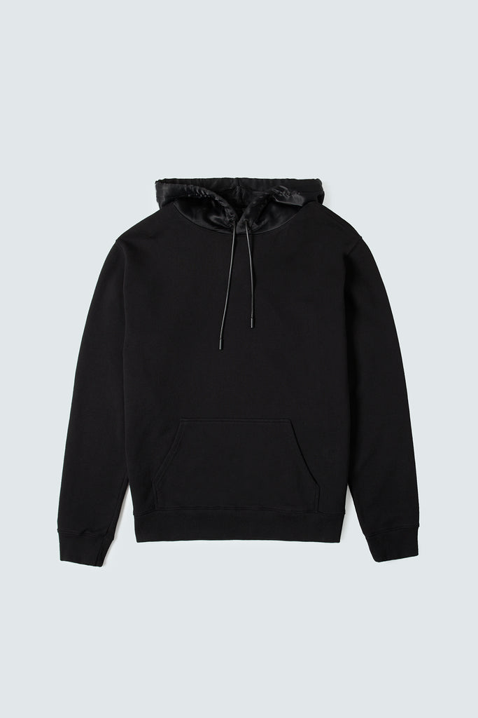 Black Cotton Hoodie with Silk Hood