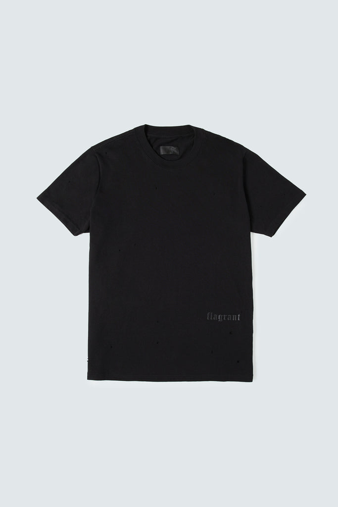 Black Cotton Tee with Distressed Details
