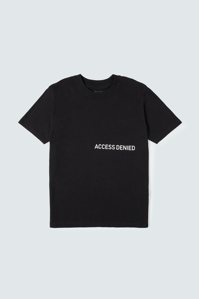 Black Cotton Tee with ACCESS DENIED Text