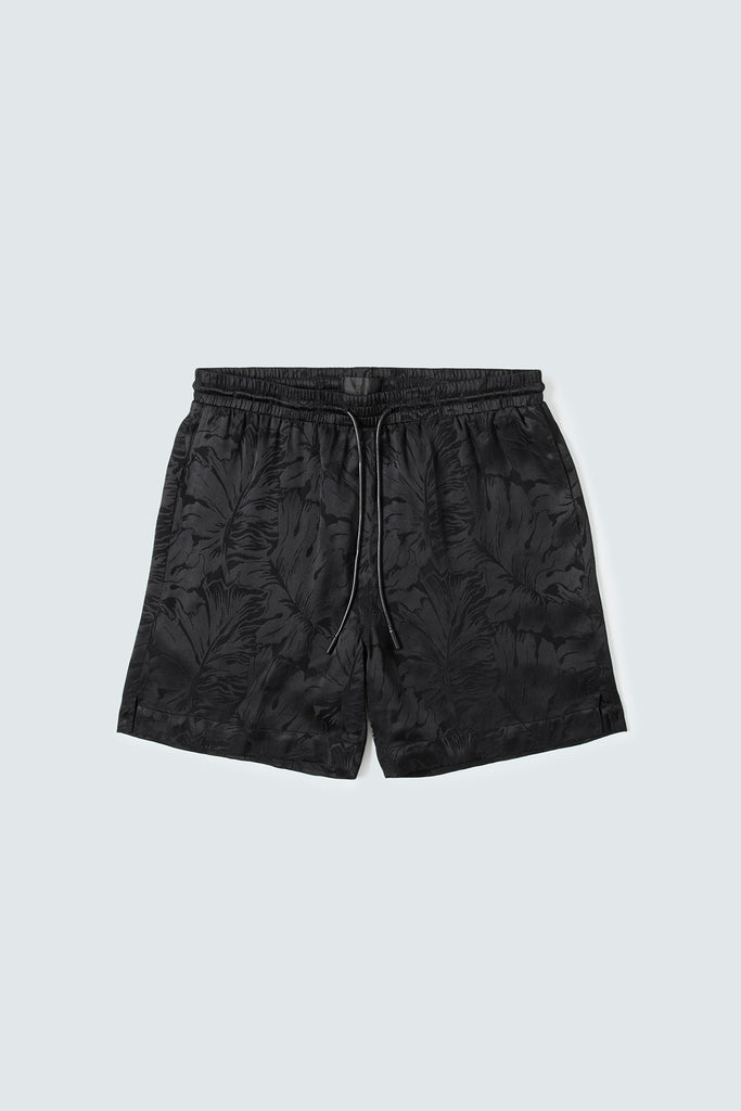 Black Silky Shorts with Floral Design
