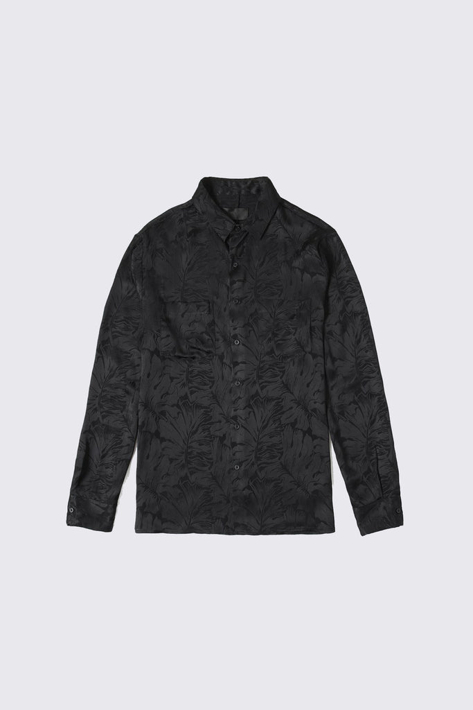 Black Silky Button Up with Floral Design