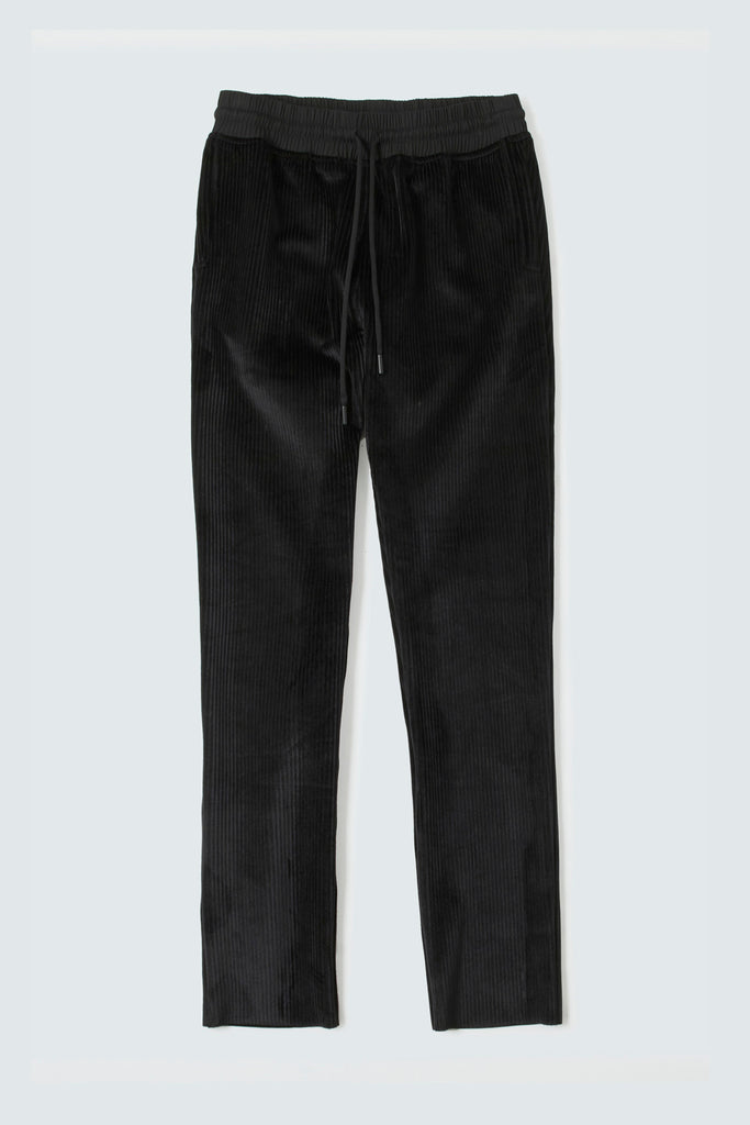 Black Cotton  Ribbed Pants