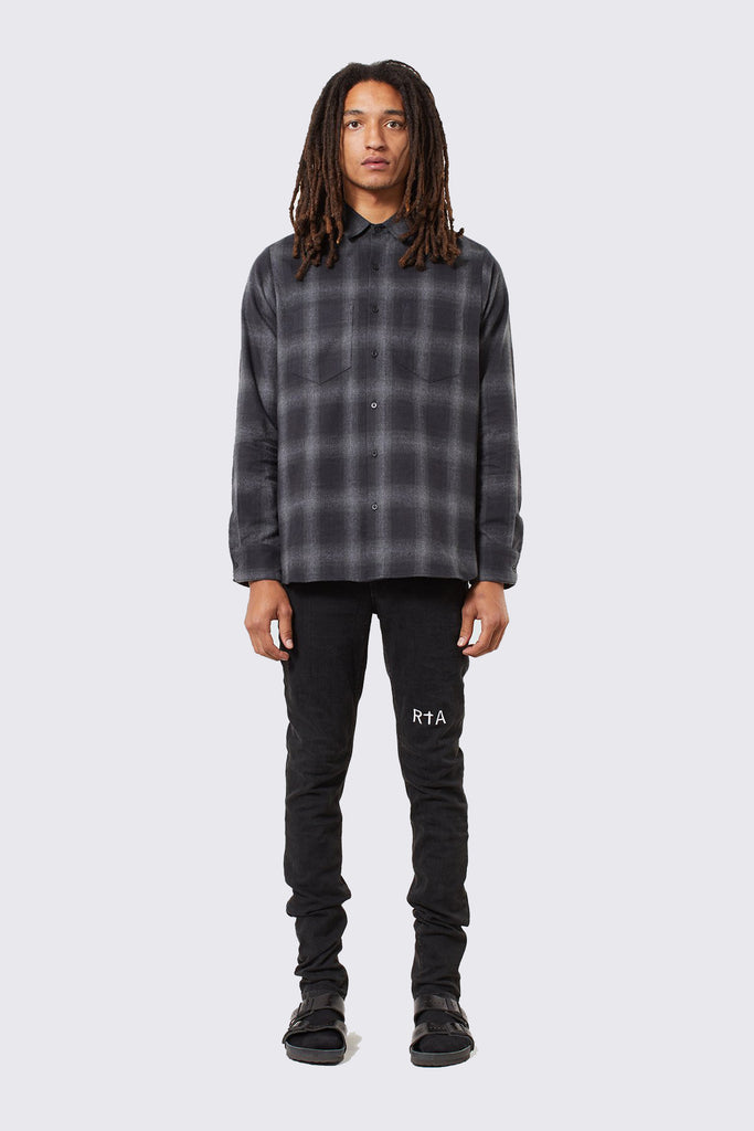 Black Cotton Flannel Button Up