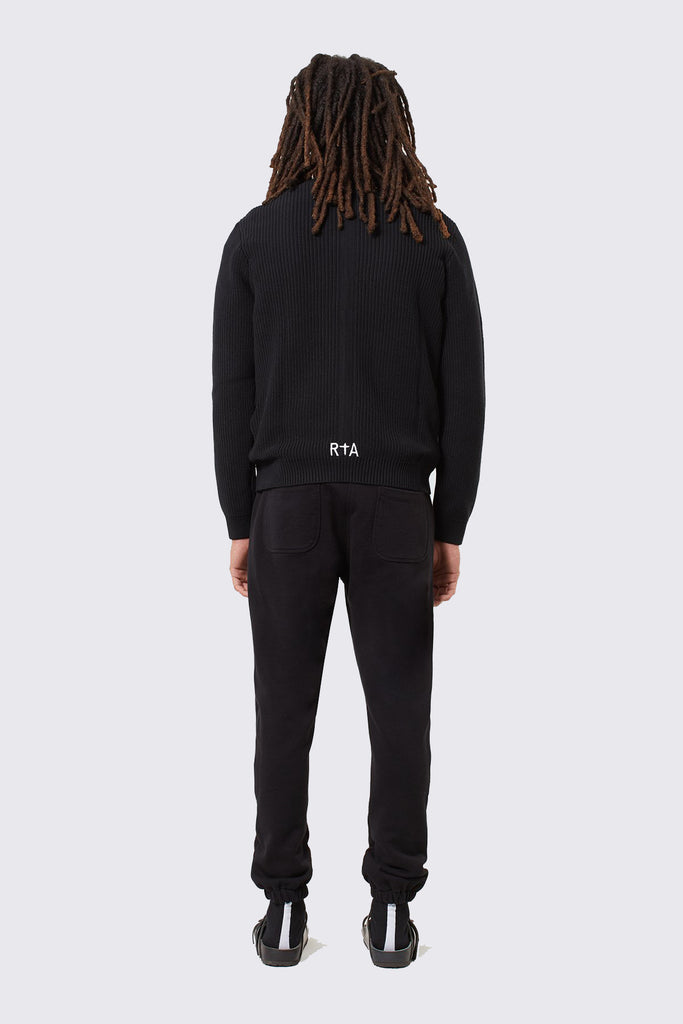 Black Cotton Sweatpants with SINNERS Embroidery