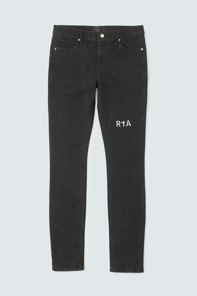Washed Black Denim Skinny Jeans with RtA Logo