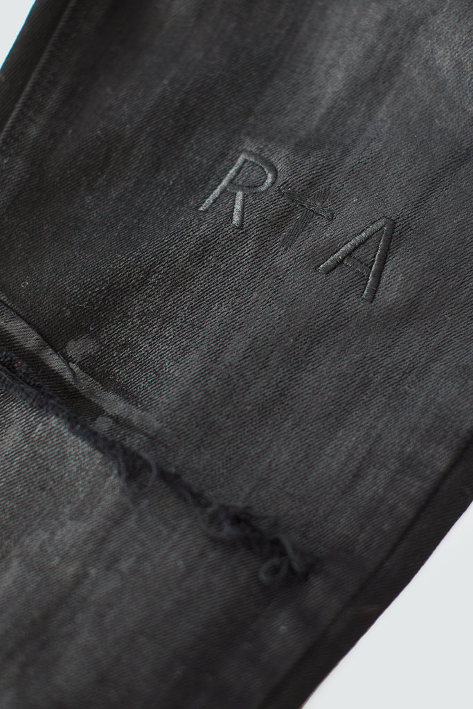 Black Coated Skinny Jean with RtA Embroidery