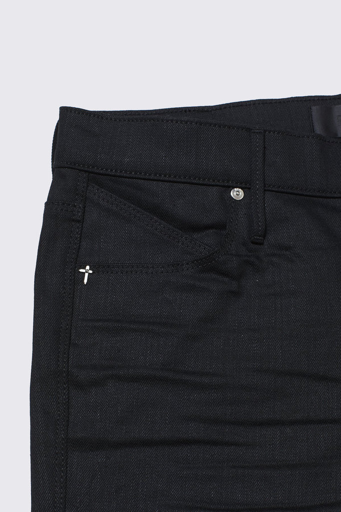 Black Raw Denim RtA Logo Skinny Jeans