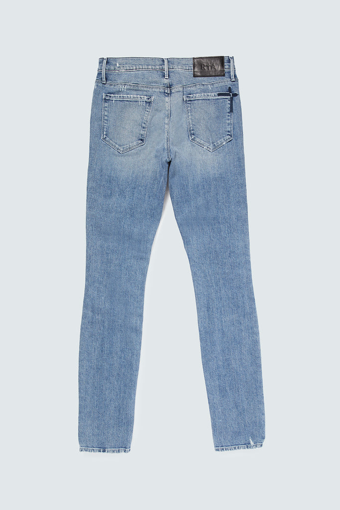 rear view of skinny denim jeans in blue for men
