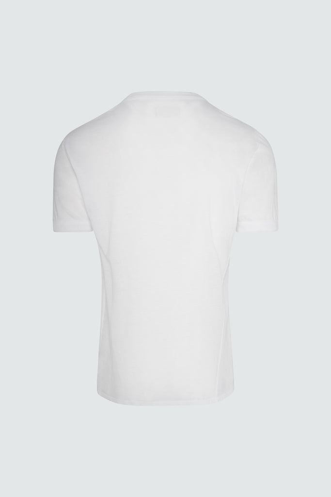 Back view of White Cotton RtA Side Panel Tee