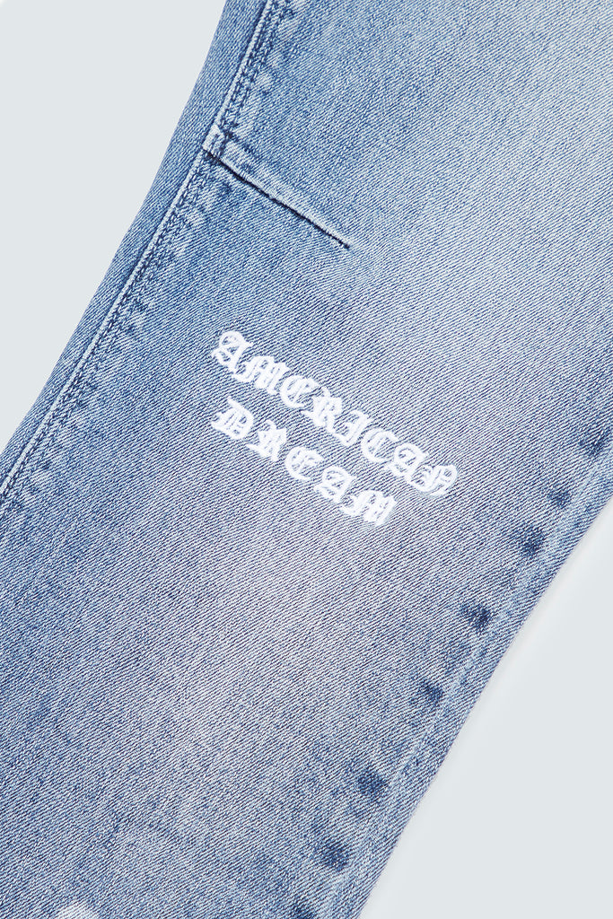 Blue Skinny Denim with AMERICAN DREAM embroidery