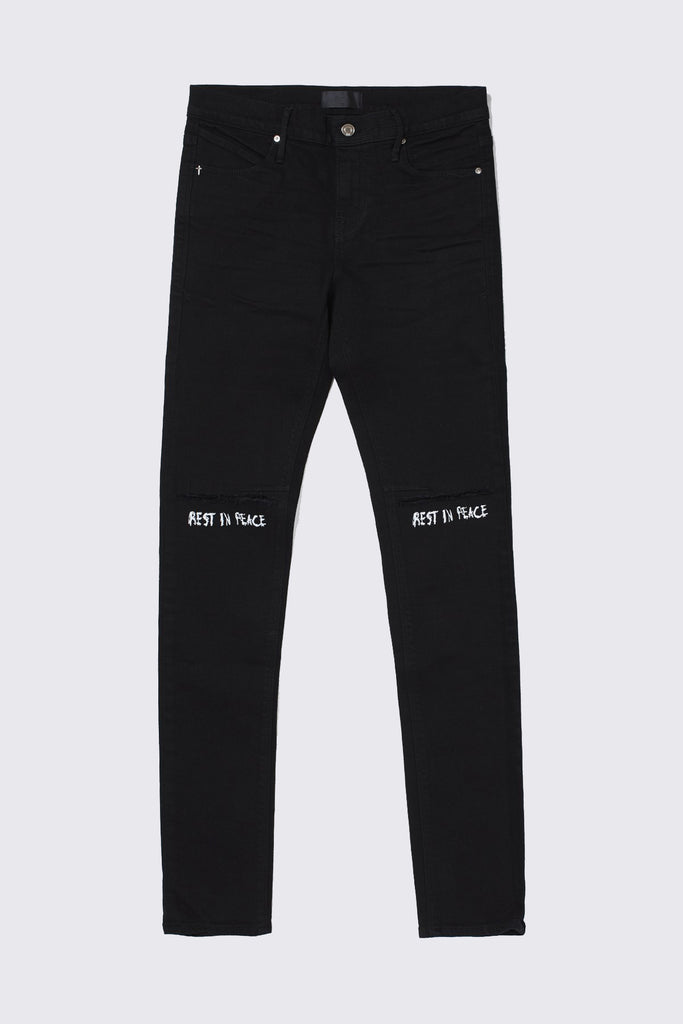 Black Cotton Denim RIP Skinny Jean