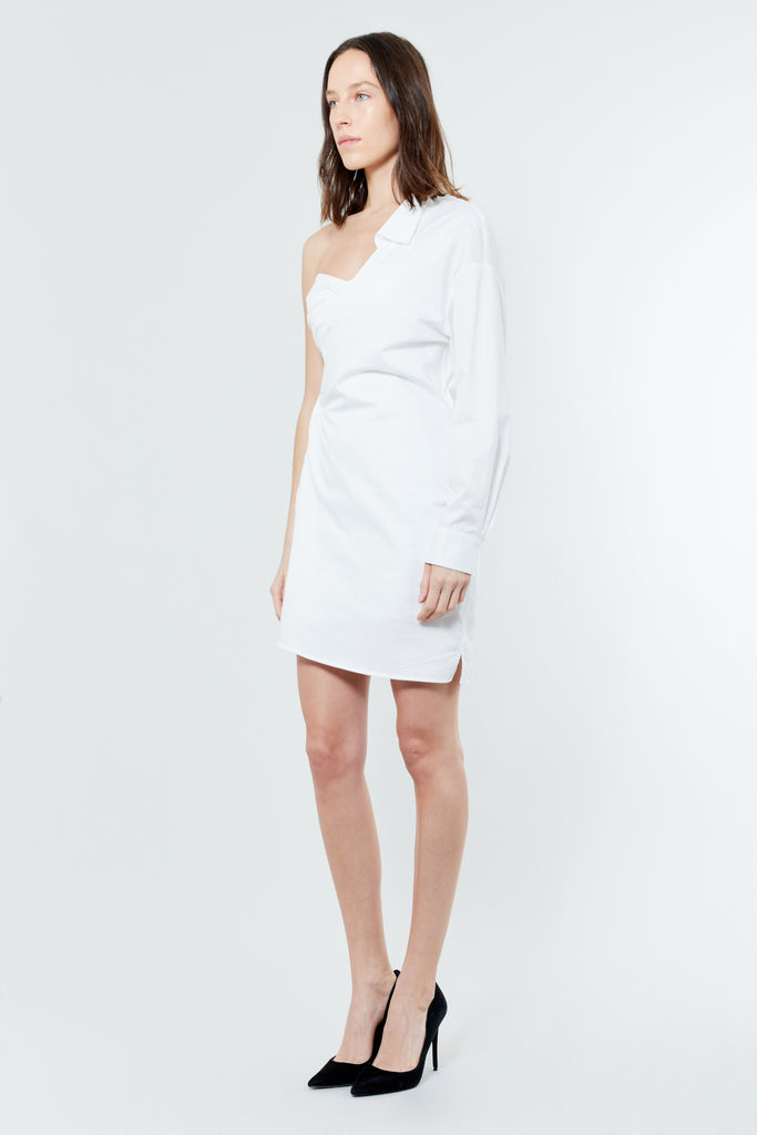White Cotton Asymmetrical Mini Dress