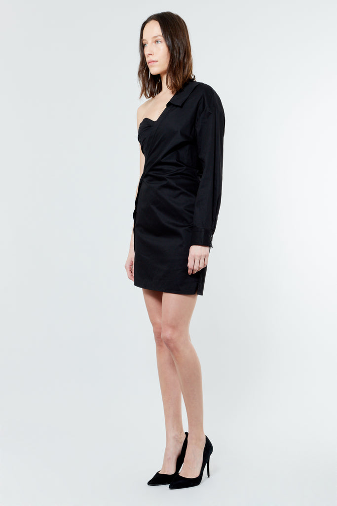 Black Cotton Asymmetrical Mini Dress