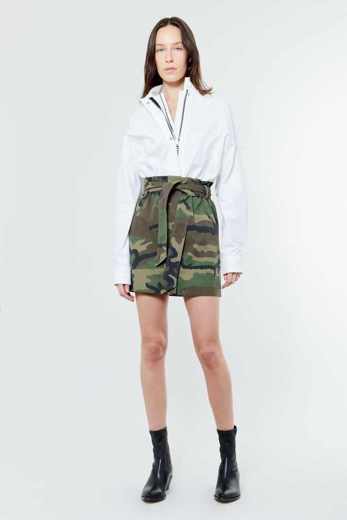 White and Camo Cotton Shirt Dress