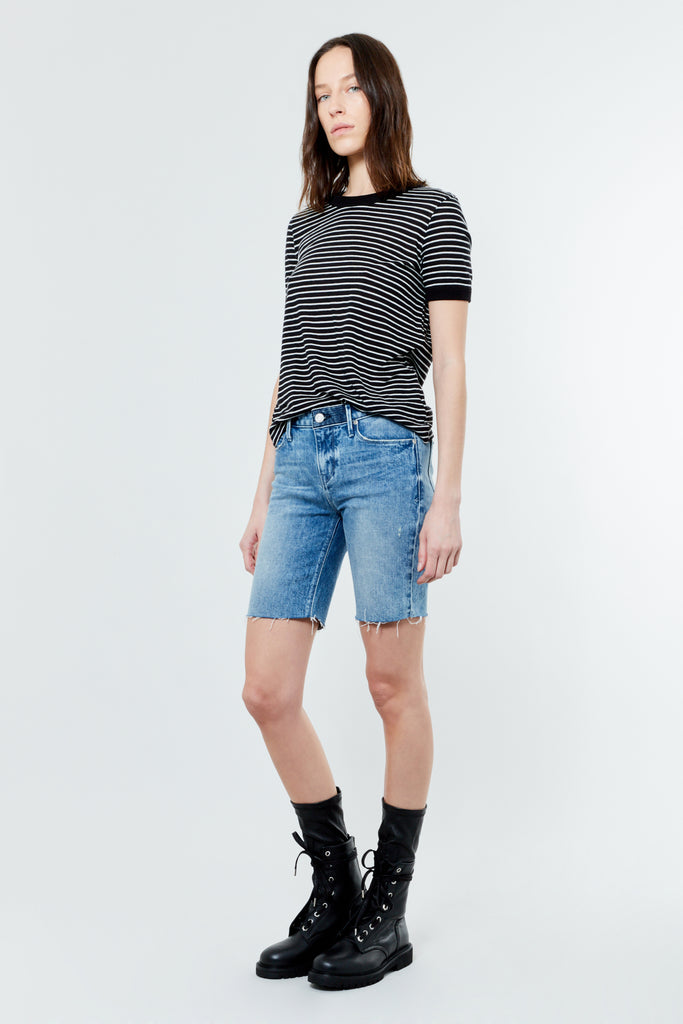Stripe Cotton Cashmere Ringer Tee