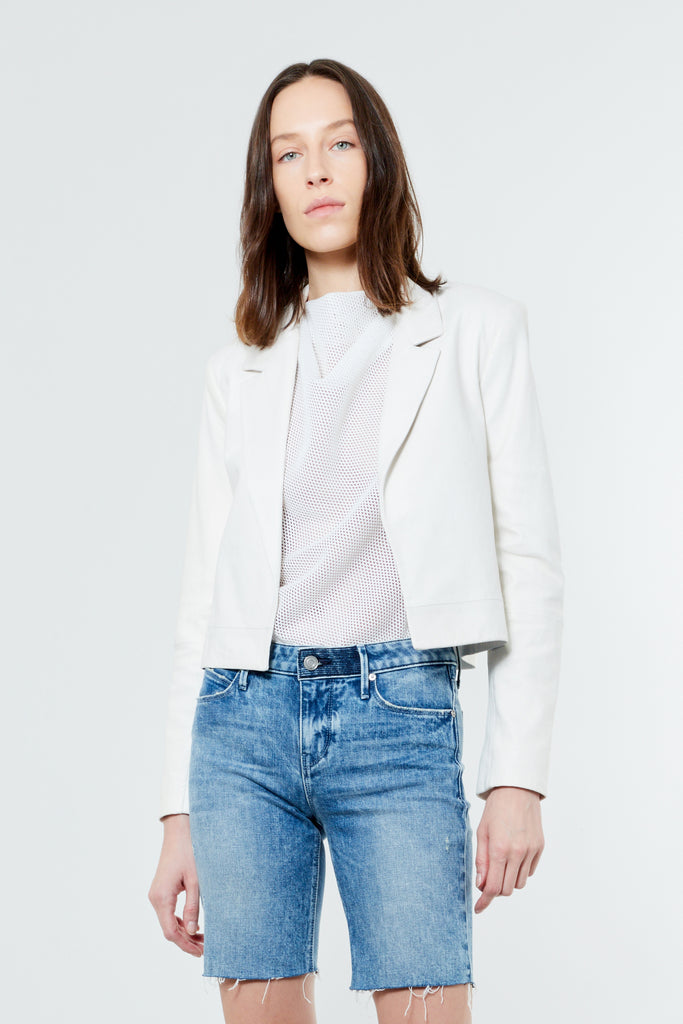 White Leather Cropped Blazer