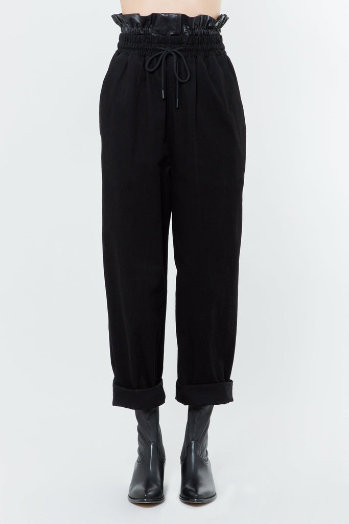 Black Cotton Leather Wide Leg Pants