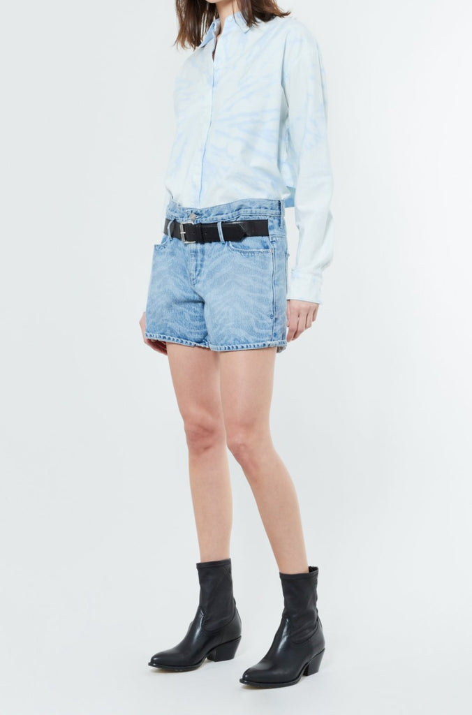 Bleached Blue Oversized Cotton Button Up