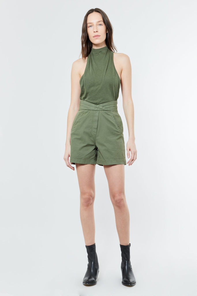 Green Cotton Highwaisted Short