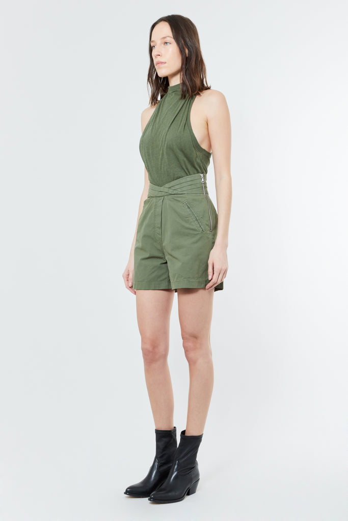 Green Cotton Cashmere Racerback Tank Top