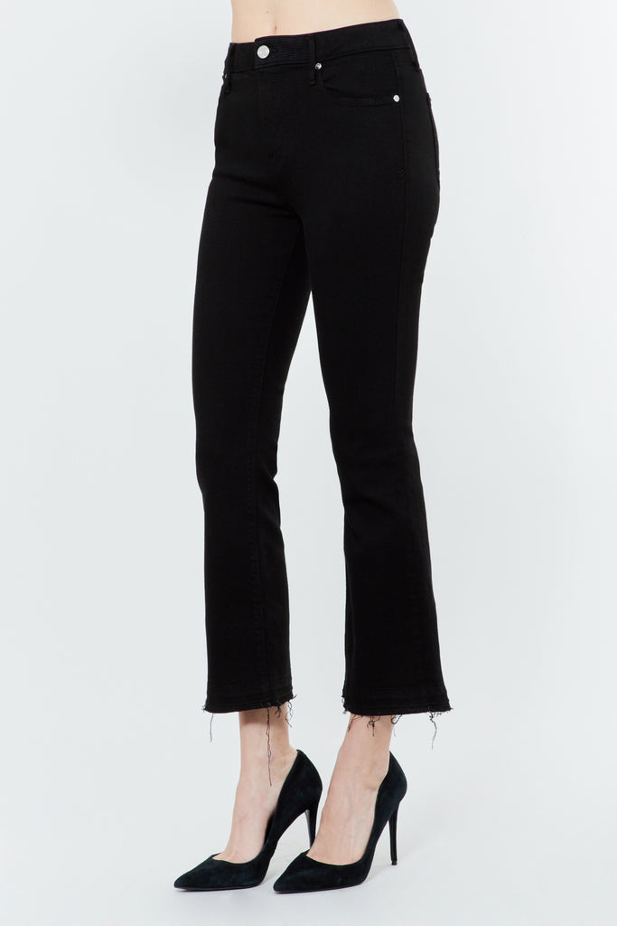 Black Denim Cropped Kick Flare Jeans