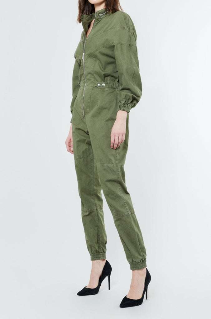 Green Cotton Zip Front Jumpsuit