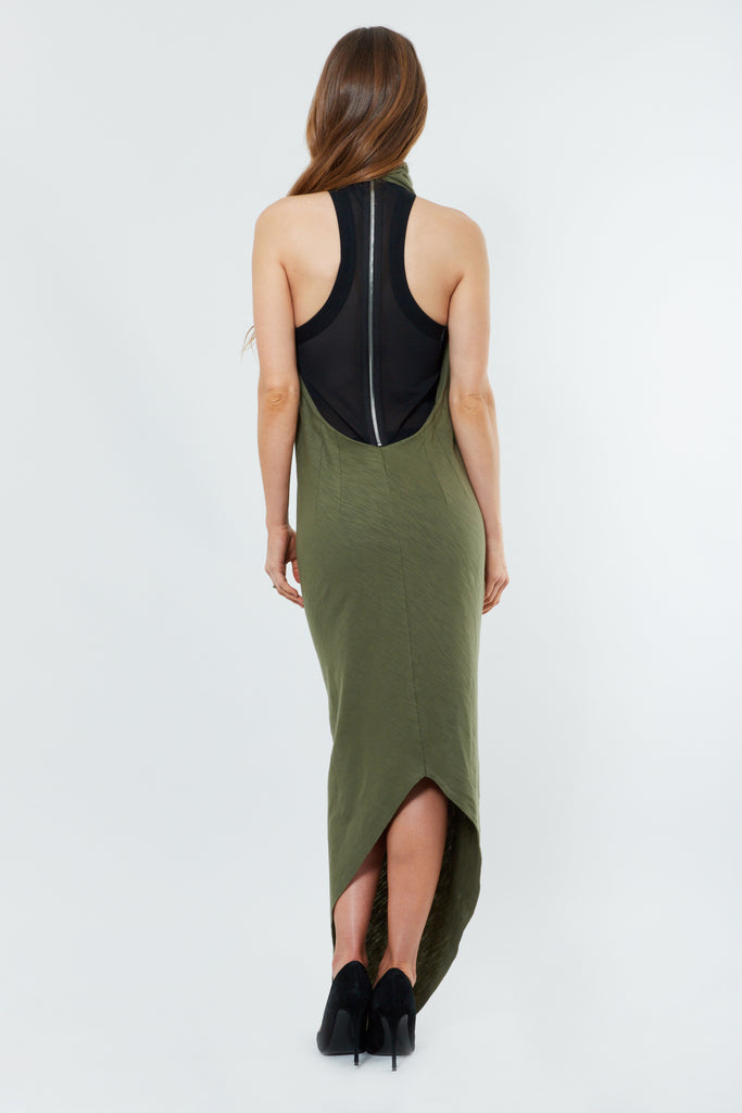 Military Green Cotton Maxi Dress