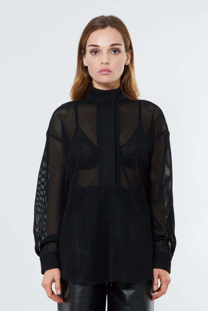 Black Cotton Mesh Half Zip Shirt