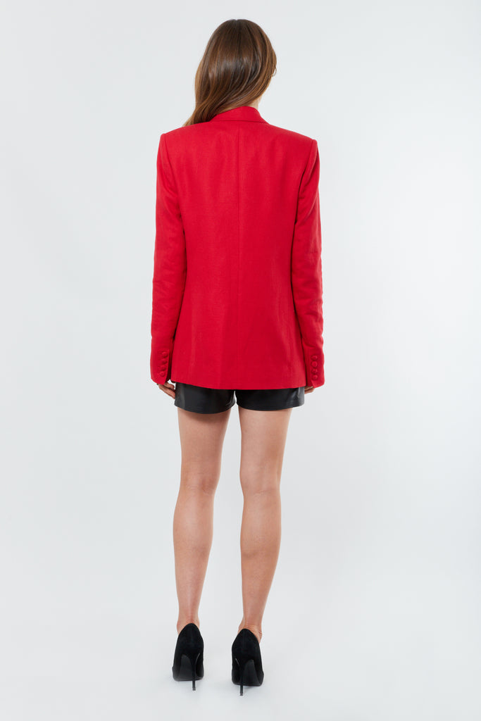 Red Linen Blend Oversized Blazer