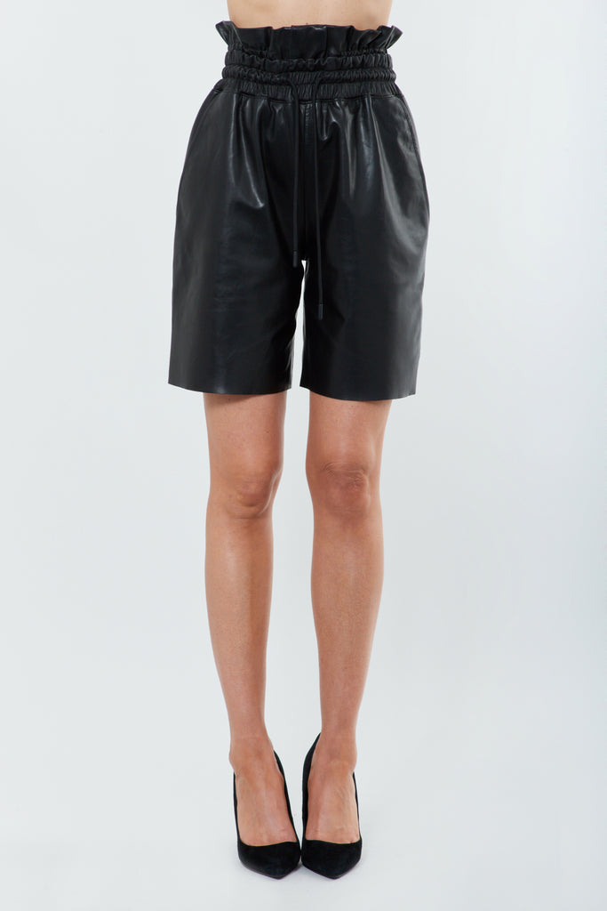 Black Leather Highwaisted Shorts