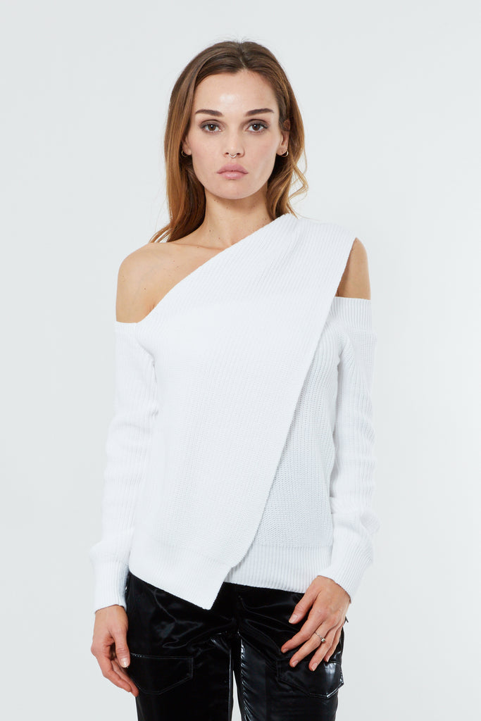 White Cotton One Shoulder Pullover Sweater