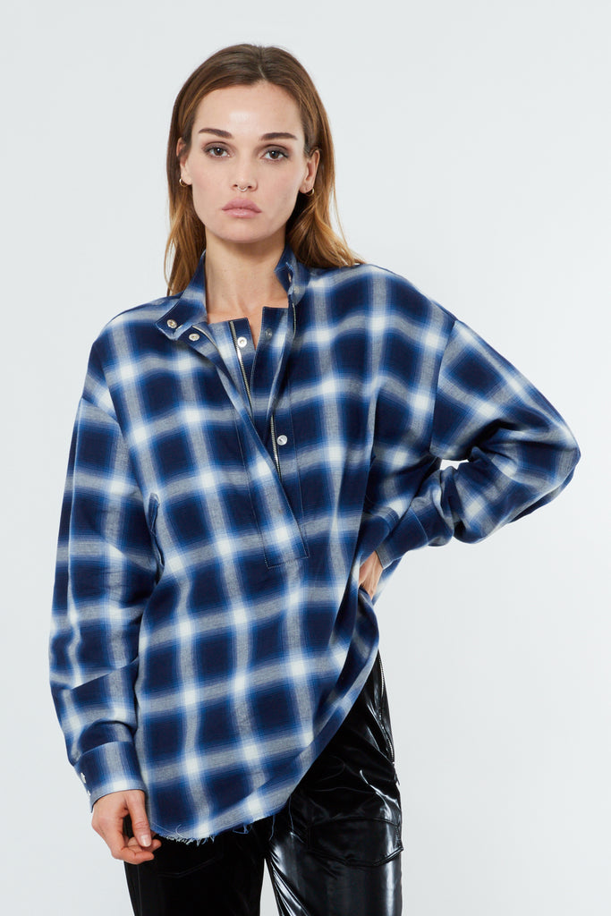 Blue Cotton Oversized Half Zip Shirt