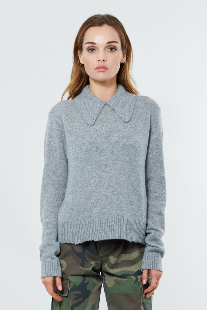 Grey Cashmere Pullover Sweater