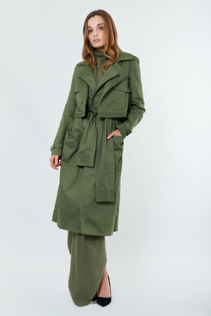 Green Cotton Trench Coat