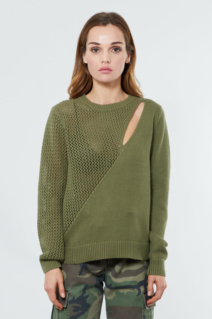 Green Cotton Knit Pullover Sweater