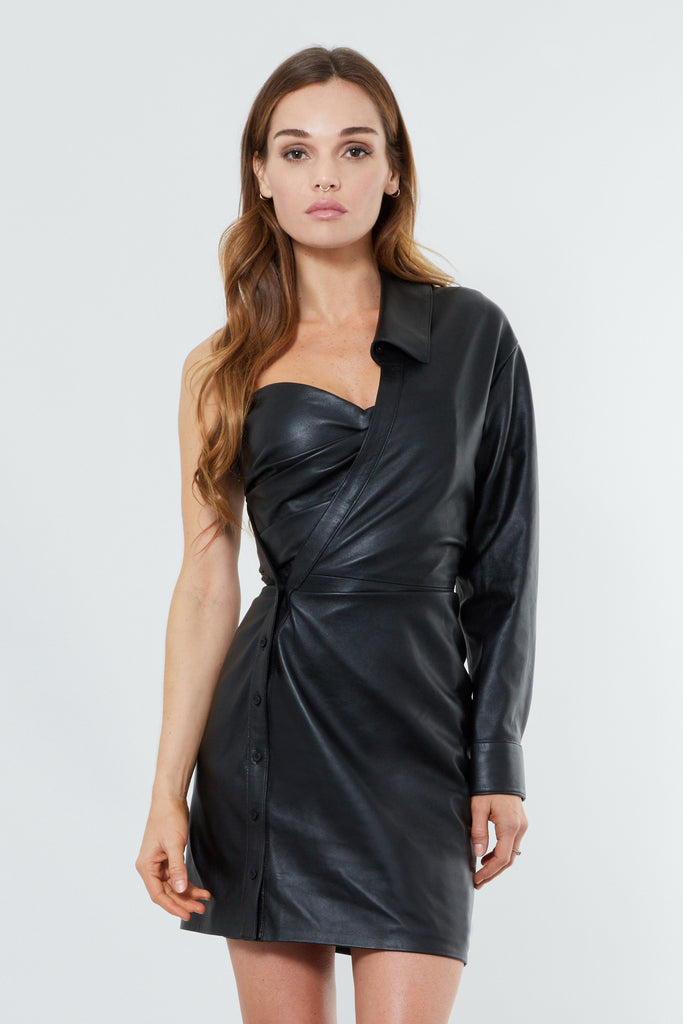 Black Leather One Shoulder Mini Dress