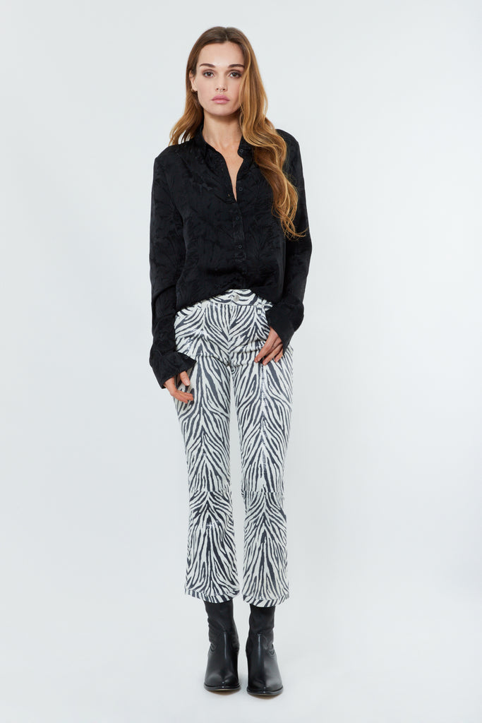 Zebra Leather Kick Flare Pants